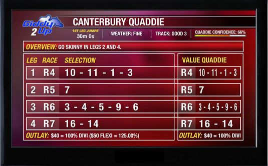 Giddy-Up TV - Thoroughbreds - Quaddie